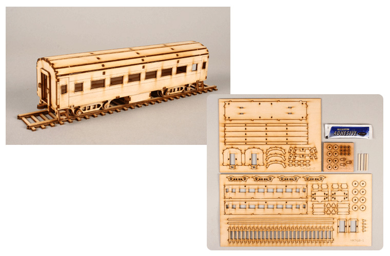 new ho 1 87 passenger train assembly wood kit ebay. Black Bedroom Furniture Sets. Home Design Ideas